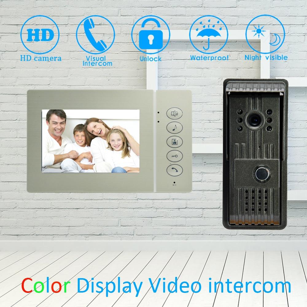 (1 Set) 4 Inch LCD Monitor Aluminium Alloy Surface Mounted Video Door Phone Waterproof Outdoor Unit HD Camera Night Vision