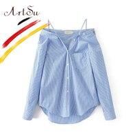 ArtSu Ladies Sexy Off Shoulder Blouse Fashion Striped Shirts Women 2017 New Packets Spaghetti Strap Blusas