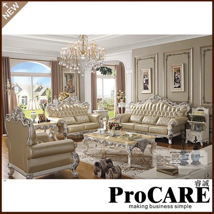 Real Leather Living Room Set: Genuine Leather Sofa For Living Room Modern Sofa Set-in