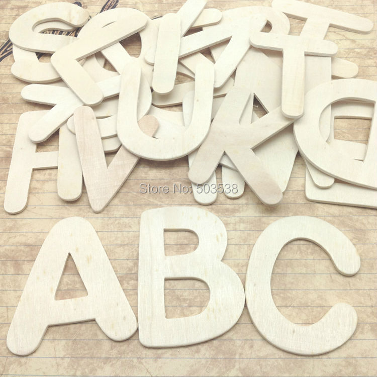 26pcslotpaint unfinished wood alphabetbig a z lettersearly educational toywood craftswood diyenglish learningdrawing toy
