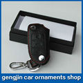 Free shipping Car accessories leather car key chain key case 3keys key cover for VOLKSWAGEN TIGUAN GOLF POLO PASSAT TOUAREG