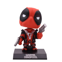 все цены на X Men Super Hero Q Ver  Deadpool Shake Head Action Figure PVC Figurine Collectible Model Christmas Gift Toy For Children онлайн