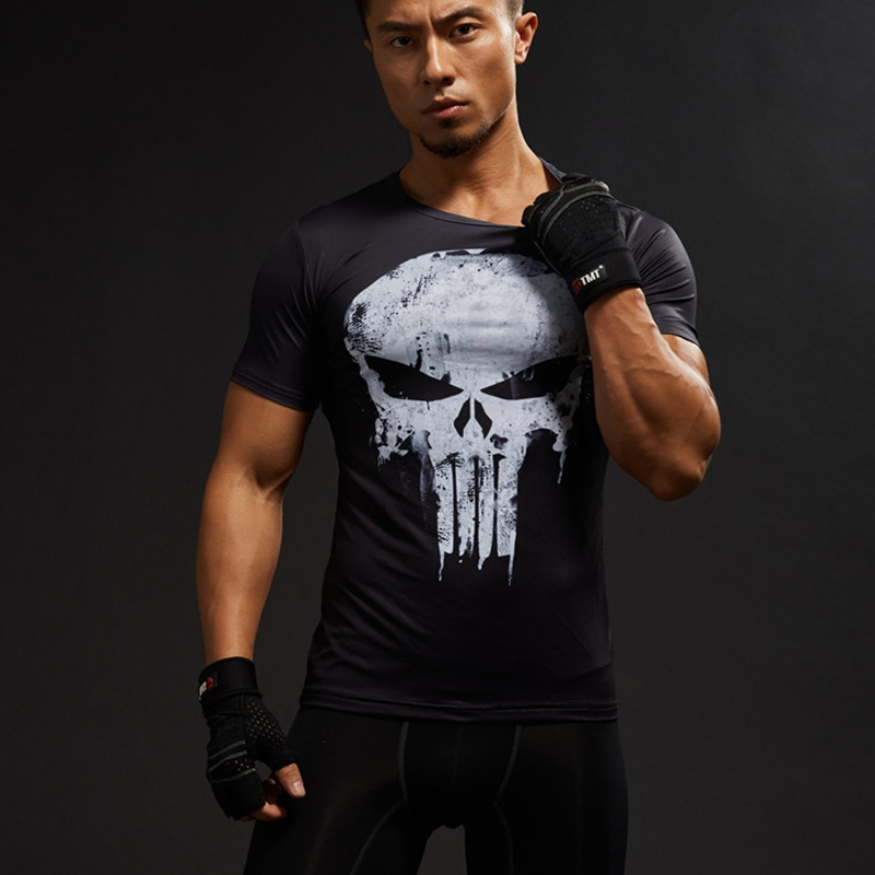 Tömörítő ingek Férfi 3D nyomtatott pólók rövid ujjú Cosplay fitnesz testépítés Férfi Crossfit felsők koponya csontváz
