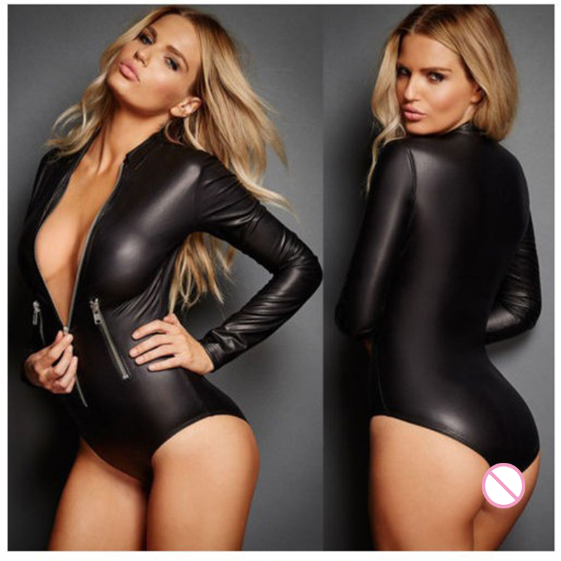 Plus Size Black Faux Leather Leotard With Zipper Women Latex Catsuit Sexy Bodysuit Teddy Erotic Lingerie Sexy Costume