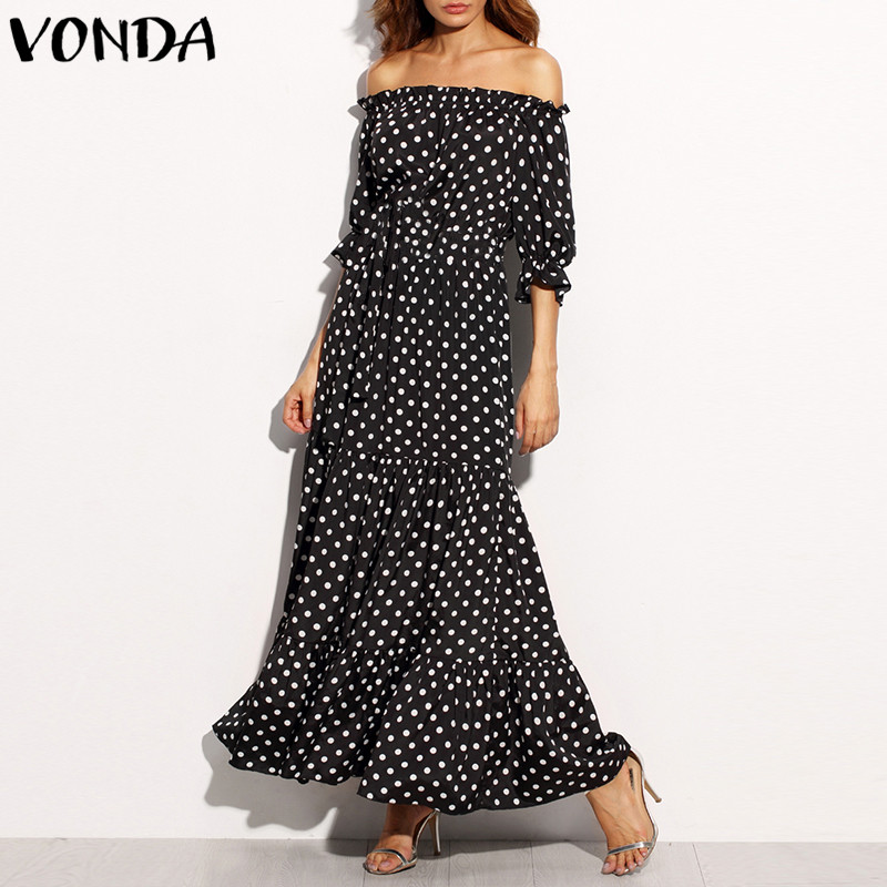 2018 Women Summer Beach Dresses Dot Print Maxi Long Dress Sexy Ruffles Off Shoulder Slash Neck A Line Vestidos Plus Size