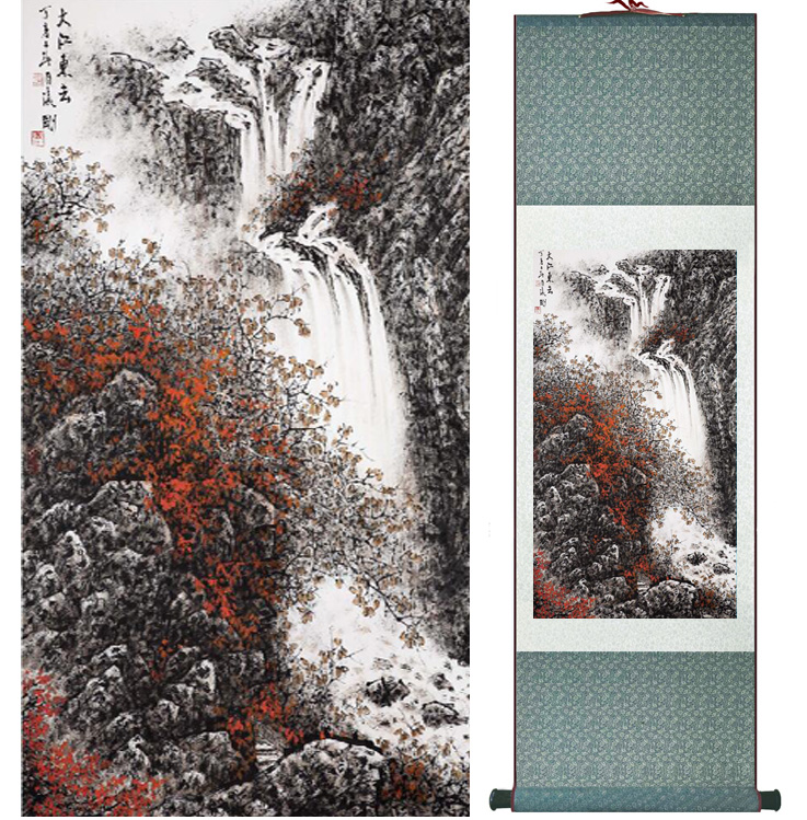 landscape painting Home Office Decoration Chinese scroll painting mountain and River paintingPrinted painting042309