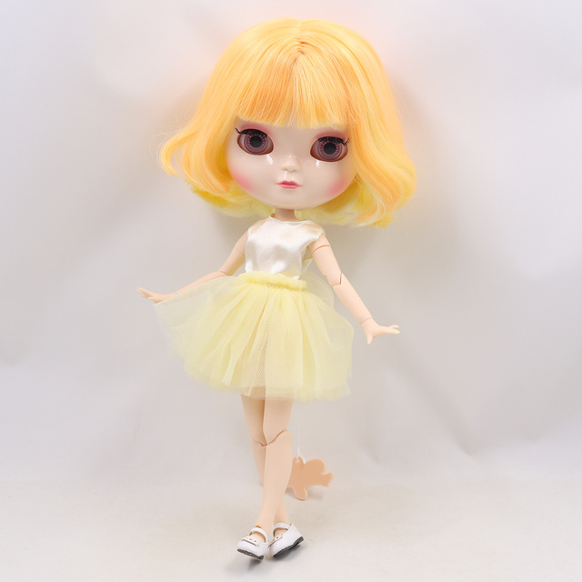 ICY Fortune Days factory doll azone joint body 30cm white skin Orange mixed yellow short hair DIY sd gift toy