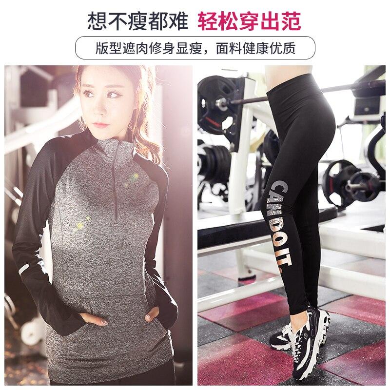 Più il Formato L 4XL Donne Runing Yoga set Maniche Lunghe Stand Up Collar + Lettera di Sport leggings Palestra Sport Esercizio Bodybuilding ragazza - 3