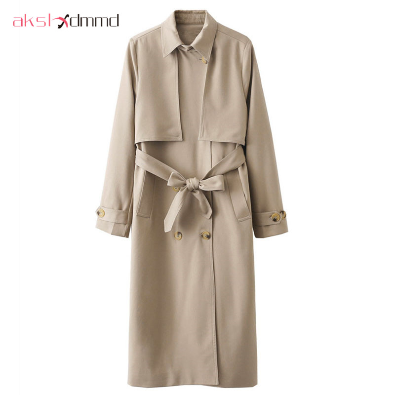 AKSLXDMMD Double-breasted Belt Long-sleeved Windbreaker 2019 New Fashion Autumn Women Long   Trench   Coat Casaco Feminino LH922