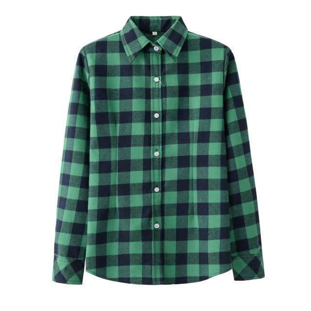 2019 Spring New Fashion Casual Lapel Plus Size Blouses Women Plaid Shirt Checks Flannel Shirts Female Long Sleeve Tops Blouse 5