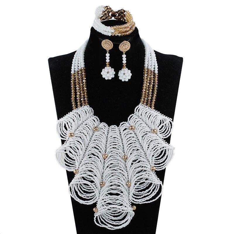 Luxe Blanc Perles Bib Mariage Ensembles de Bijoux Africains pour les Femmes Indiennes Nigérian Nuptiale Or Cristal Ensemble de Bijoux WE160