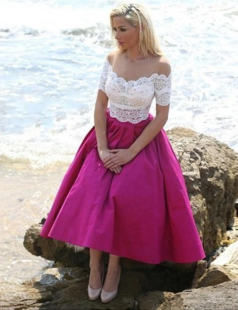 Us 129 0 Romance Fuchsia Beach Bridesmaid Dresses Tea Length Lace Cheap Maid Of Honor Dress 2019 Wedding Guest Gowns Usa Uk Online Store In