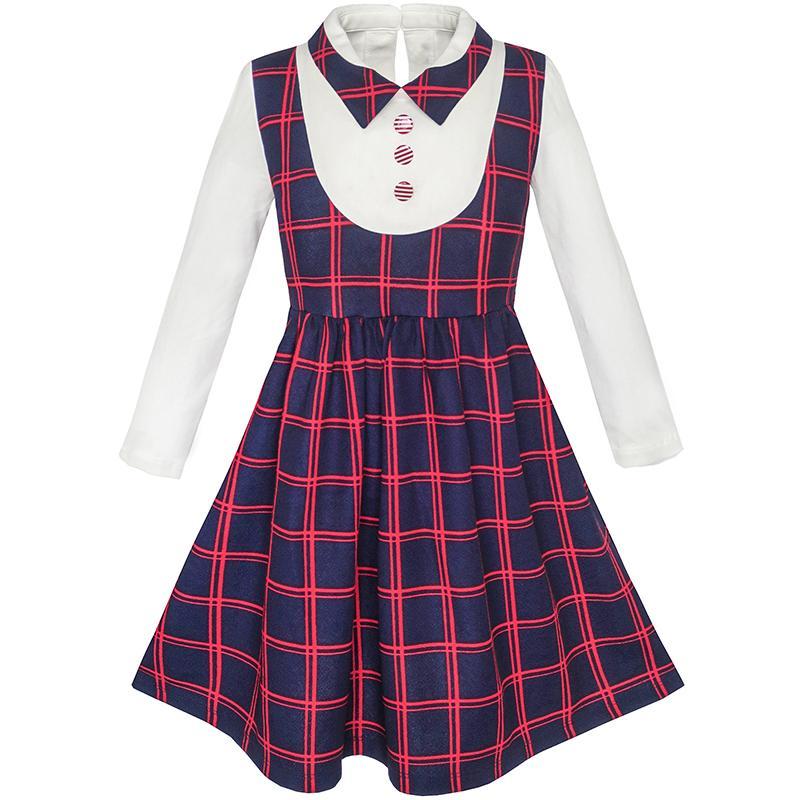 Sunny Fashion Girls Dress 2 In 1 School Uniform Checked Plaid Suspender -1060
