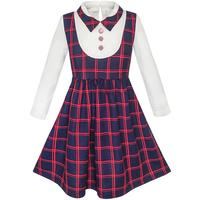 Sunny Fashion Girls Dress 2 In 1 School Uniform Checked Plaid Suspender Skirt 2017 Summer Princess