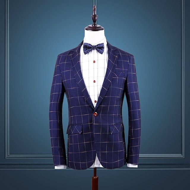 Новый 2017 осень/зима мода плед slim fit мужские пиджак one button повседневная блейзер masculino мужская одежда размер м-6xl