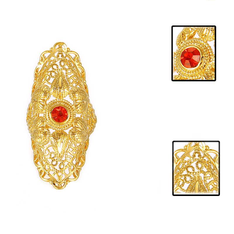 Nuevo anillo de boda de Piedra Roja Etíope de Ethlin para mujeres anillo de Color dorado de la joyería de la moda del Medio Oriente R73