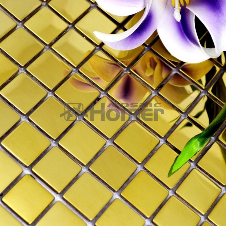 free shipping, 25x25mm square tile golden glossy stainless steel ...