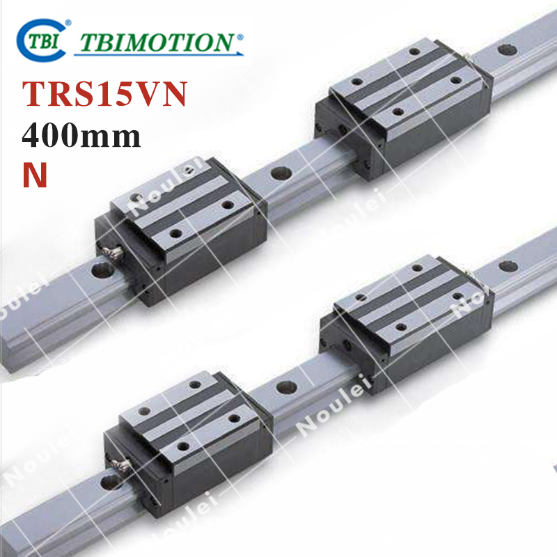 TBI Linear Guide Rail 2pcs TRS15 15mm 400mm +4pcs TRS15VN linear carriages block for CNC tbi 2pcs trh20 1000mm linear guide rail 4pcs trh20fe linear block for cnc