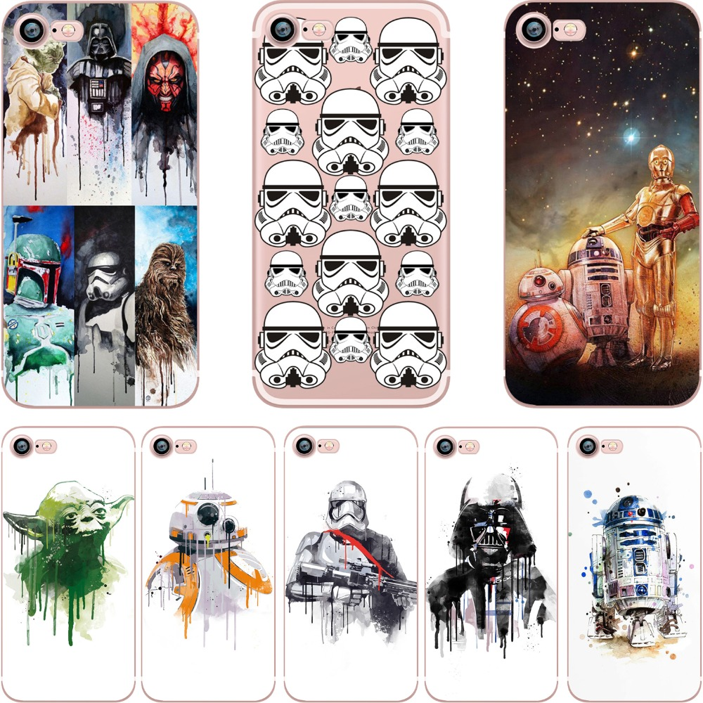 07e8e29d48 Ciciber BB8 Coffee Stormtrooper Star Wars R2D2 Darth Vader silicone macio  claro TPU caso capa para o iphone 6 6 S 7 8 mais SE 5S X