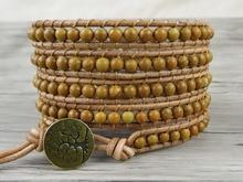 Фотография Boho Wrap Bracelet gypsy Leather wrap bracelet Wood grain picture beads brown leather natural stone Jewelry friendship gift