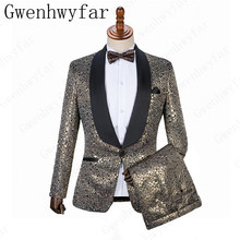 87f8f43f072 Cheap And Fine Embossing Groomsmen Shawl Lapel Groom Tuxedos Men Suits  Wedding Prom Dinner Best Man