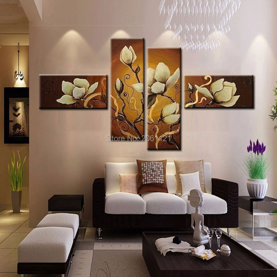 hand paint modern decorative pictures tawny wall canvas paintings cheap flowe oil painting canvas art wall decorations gifts in Painting Calligraphy from Home Garden
