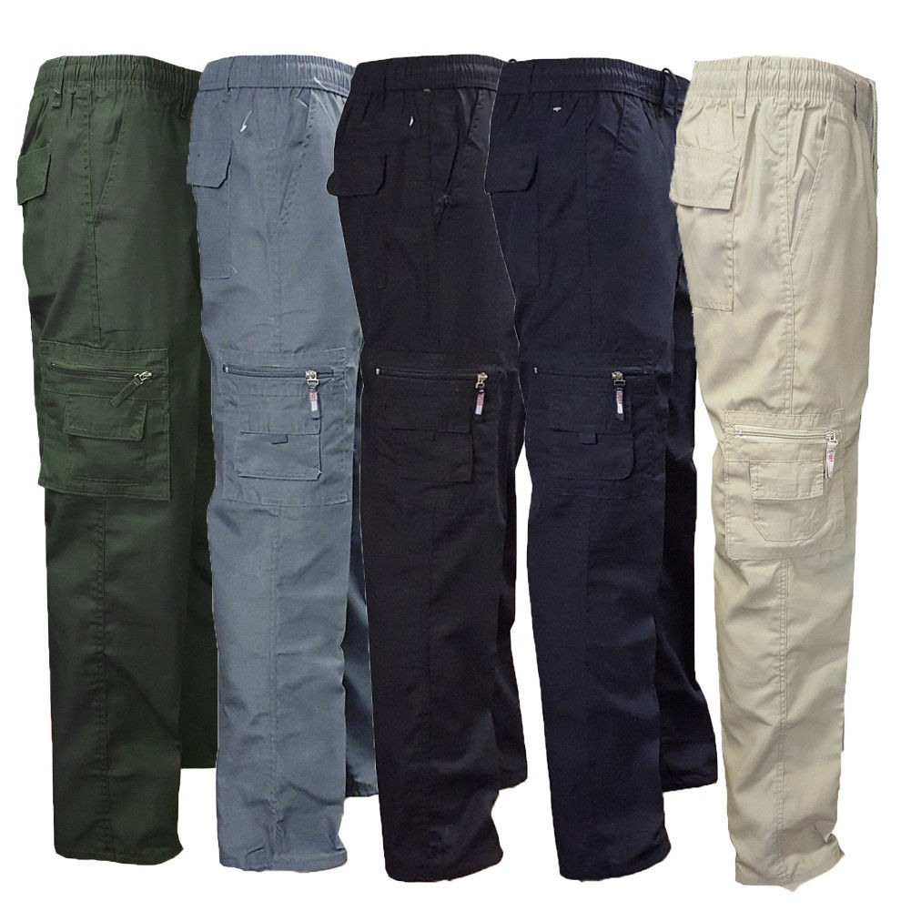 Solid Heavy Zipper Combat Cargo Work Trousers With Knee Pad Pockets Long Hiking Pants
