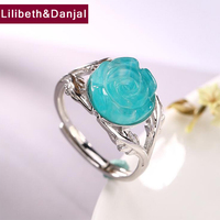 2019 Adjustable Ring 100% Real 925 Sterling Silver fine Jewelry Women Mosaic Amazonite Rose Flower Opening Wedding mood Ring YR5