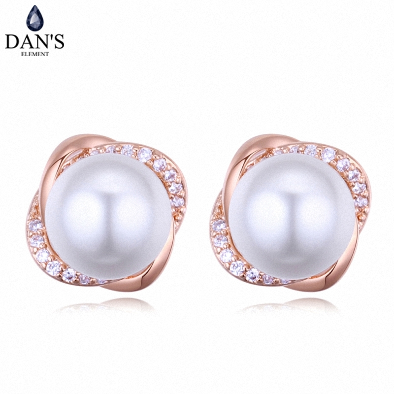 DANS 3 Colors Real Austrian crystals Stud earrings for women Earrings s New Sale Hot Round 128654
