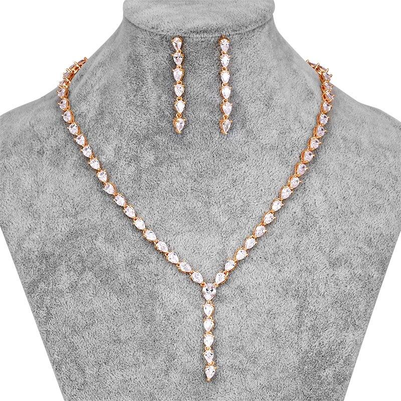 WEIMANJINGDIAN Bridal-Jewelry-Sets Cubic-Zirconia Necklace Earrings Crystal Teardrop