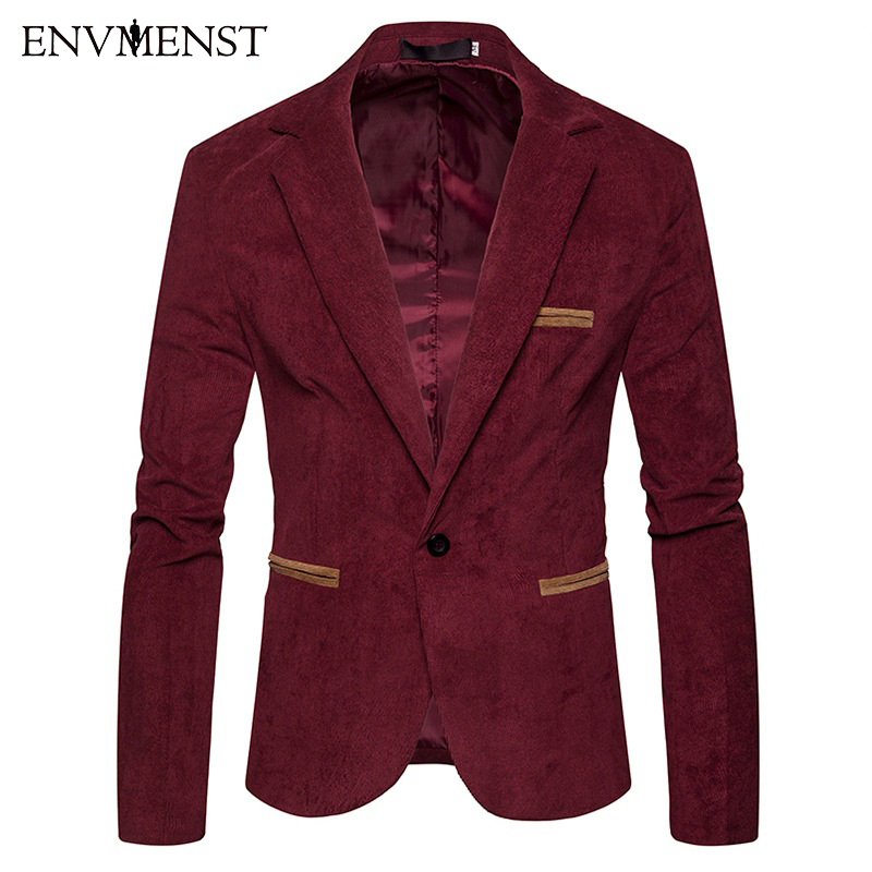 2018 New Fashion Men Blazer Casual Suits Slim Fit Suit Jacket Men Single Button Masculin Corduroy Blazer Jacket