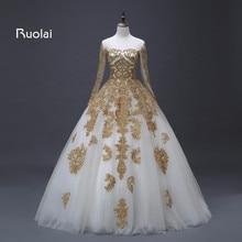 Luxury Dubai Wedding Dresses 2017 Tulle Long Sleeves Golden Applique Beaded Arabic Ball Gown  Bridal Robe de Mariage ASAFN65