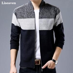 Image 1 - Liseaven 男性カーディガンセーターカジュアルスタイルスタンド襟暖かい Sweatercoat 男性のジャケットコート秋冬カーディガン