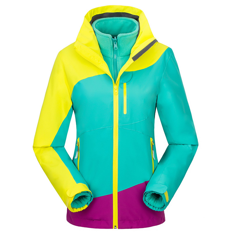 Winter 3in1 Outdoor Sport Hiking Skiing Waterproof Jacket Women Windstopper Camping Climbing Coat Fleece Inner Casaco Feminino 3 in 1 outdoor jacket windproof waterproof coat women sport jackets hiking camping winter thermal fleece jacket ski clothing