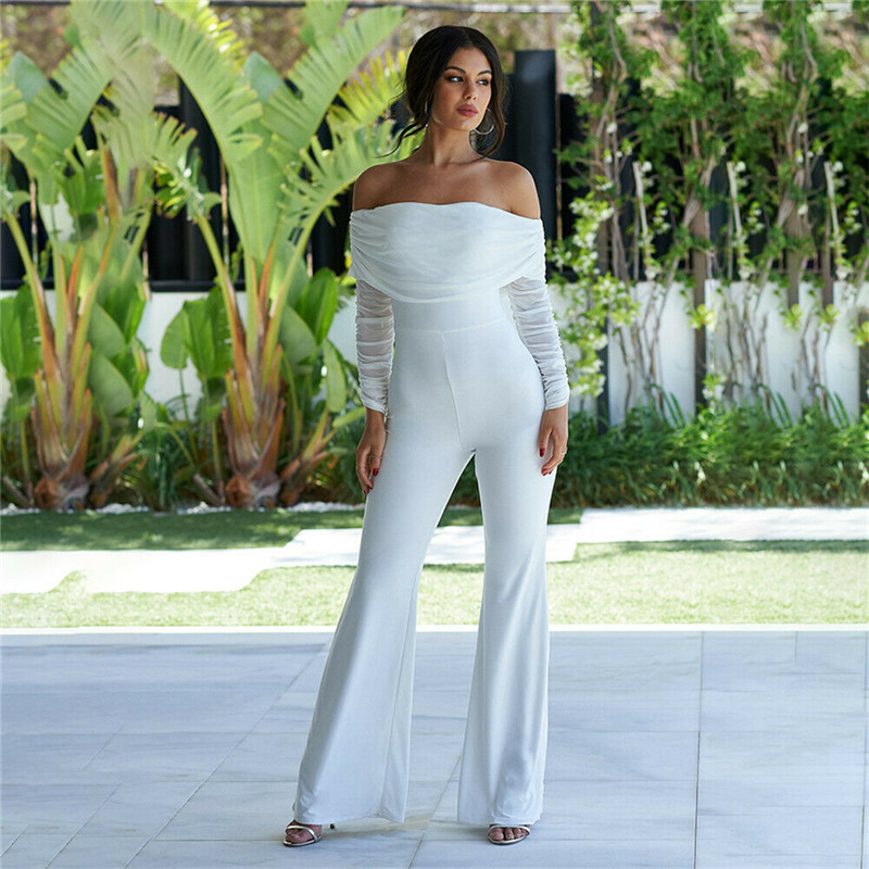 Hirigin Women Summer Long Sleeve Rompers Ladies New Fashion Wide Leg Jumpsuits Female Solid Off Shoulder Long Trousers