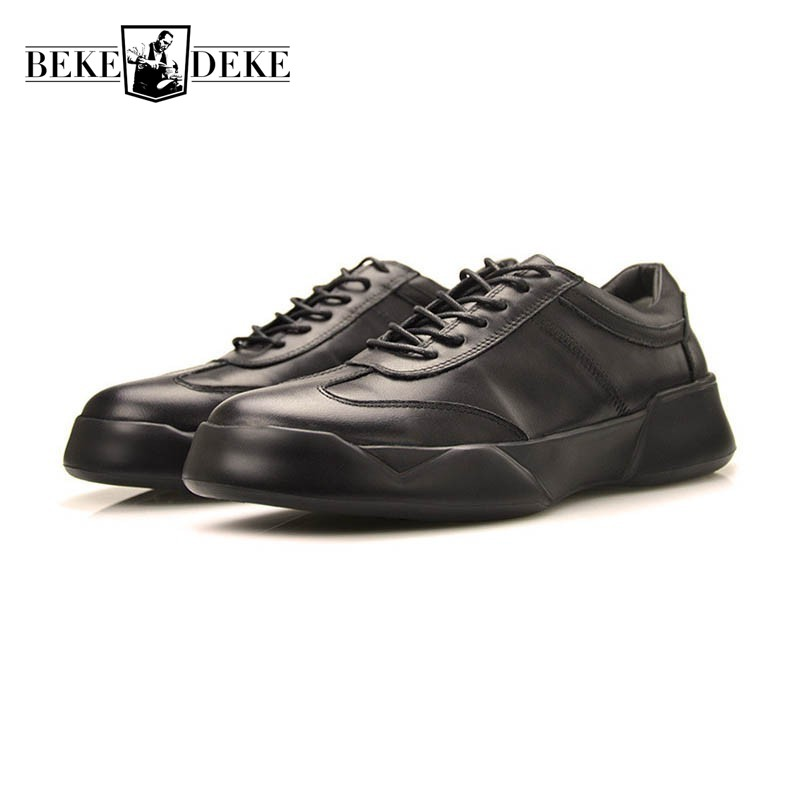 2018 Top Brand Genuine Leather Mens Shoes Casual Business Man Footwear Fashion Thicken Platform Lace Up Antiskid Zapatos Hombre fashion genuine leather men shoe zapatillas zapatos hombre lace up work man casual business party mens dress shoes plus size 48