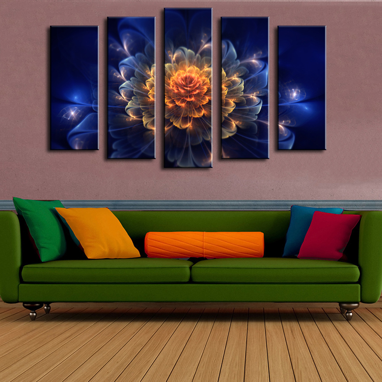 5 Piece Wall Paintings Home Decorative Modern Abstract Flower Art Combination Paintings For Sale No Framed