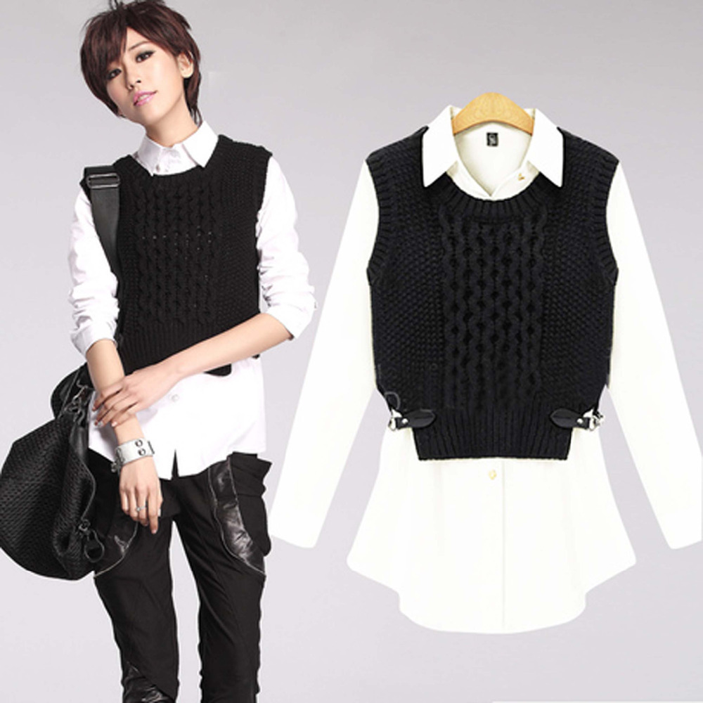 New 2015 Fashion Summer Style Women Blouses   Sweater Vest 2 Piece ...