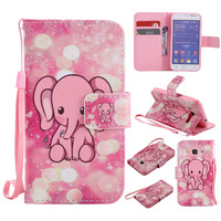 Pink Little Elephant Design Wallet Flip Stand Holder Case For Samsung Galaxy Core Prime G360 G3608 Leather Cover Coque Fundas