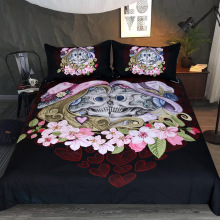 Sugar Skull With Hat Bedding Set 3d Heart Lovers Flowers Comforter Sets Queen King Black Duvet Cover Home Textiles 3Pcs