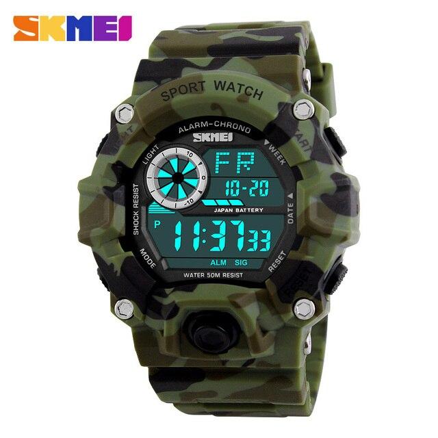 SKMEI Военные спортивные часы мужские Алар M 50 м Водонепроницаемый часы светодиодной подсветкой шок цифровые наручные часы Relogio masculino 1019