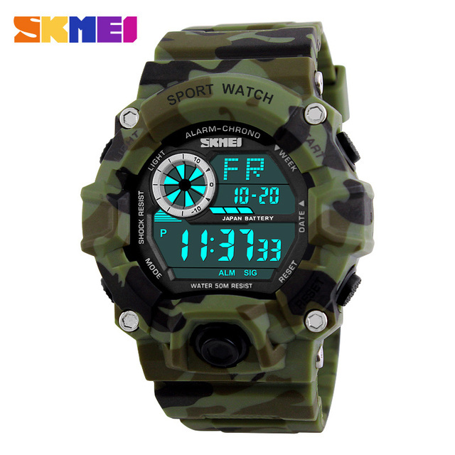 Skmei военные спортивные часы мужчины тревоги 50 м водонепроницаемые часы светодиодной подсветкой шок цифровые наручные часы relogio мужской 1019