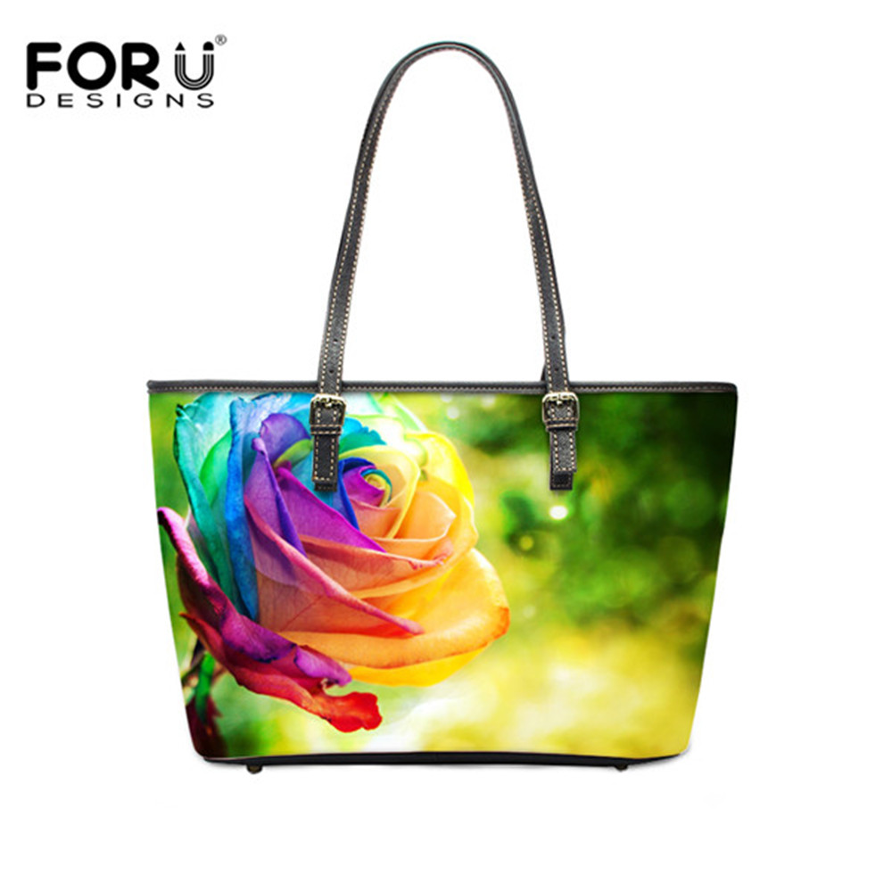FORUDESIGNS Large Size Women Handbag Fashion Roses Flowers Printed Female Leather Tote Bag Designer Ladies Casual Shoulder Bags