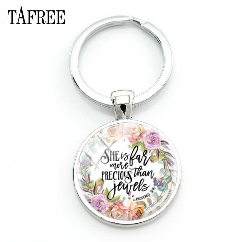 TAFREE Letter Hope&Garland Style Keychains Attractive Handcrafted Silver Color Round Friendship Lover Souvenir Gift Jewelry LT46