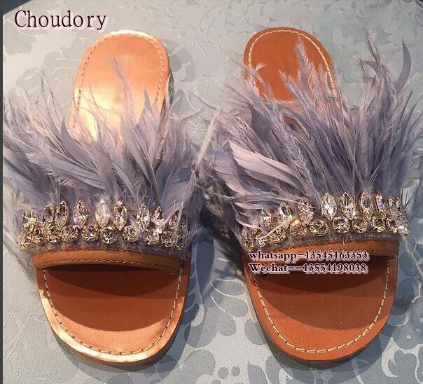 Newest summer Women flat sandal Heels crystal fringe feather decor slides flip flop cozy rhinestone Diamond beach slippers