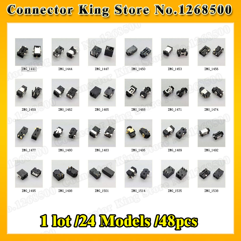 1 lot /24 Models /48pcs Widely Using Power DC Jack Connector, Socket for Laptop Tablet, Mini Pad