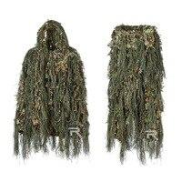 Гибридный камуфляж Woodland Маскировочный охотничий костюм, камуфляж Ghillig костюм Комбинации строки и ткани 3D дизайн легкий