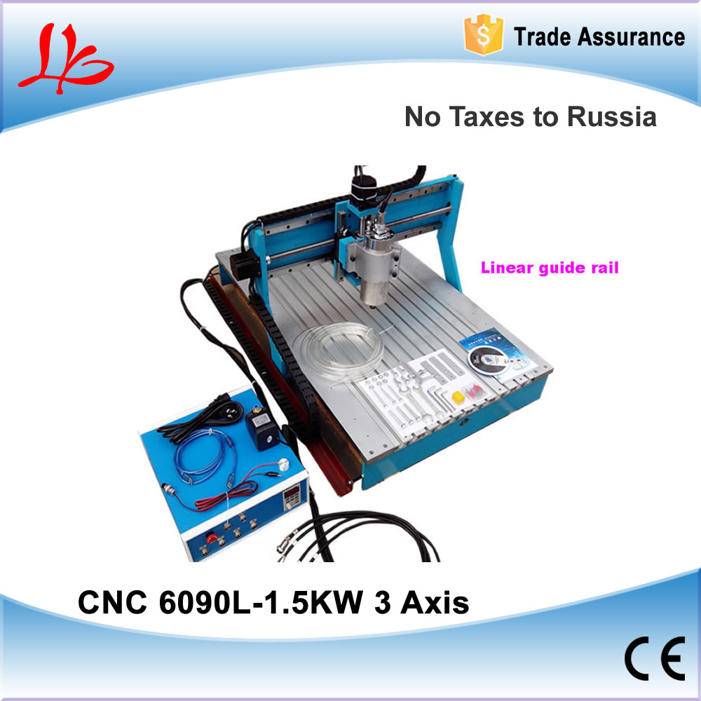 3 Axis cnc cutting machine 6090, 1.5KW water cooled spindle,marble stone carving machine, free tax to Russia