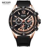 Megir Chronograph Quartz relógio de Pulso dos homens em Ouro Rosa Relógios de Silicone À Prova D' Água Esportes Luminosos Relógio Relogios masculinos MN2083 Relógios de quartzo     -