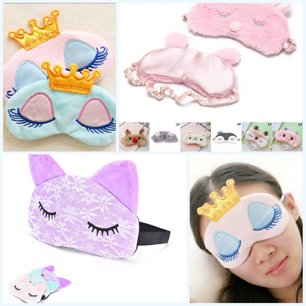 1PC Soft Cartoon Sleep Eye Mask Plush Shade Bandage Travel Relax Rest Aid Blindfold Cover Patch Eye Care Tool For Women Kids